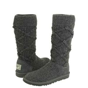 UGG Classic Cardy Argyl Sweater Boots Dark Gray